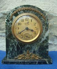 V23 Pendule Borne Réveil Marbre Vert Bronze doré BAYARD Lion ancien horloge