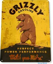 Grizzly Gasoline Garage Shop Gas Retro Vintage Rustic Wall Decor Metal Tin Sign