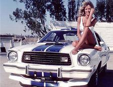 Farrah Fawcett sitting on hood of Ford Mustang 1970s 8 x 10 Photograph
