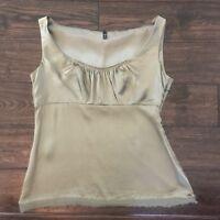 TAHARI Women's Green 100% Silk Crew Neckline Sleeveless Blouse Size Small