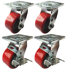 """4"""" x 2""""  Polyurethane on Cast Iron (Red) - 2 Swivels and 2 Swivels with Brake"""