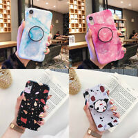 For iPhone 11 Pro Max XR XS 6s 7 8 Plus Marble Stand Holder Soft TPU Case Cover