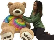 Big Plush Giant 5 Foot Teddy Bear Soft Ultra Premium Quality Wears Tie Dye Shirt