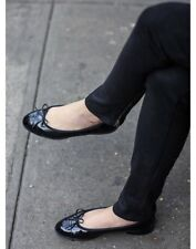 New CHANEL CC Classic Bow Black Patent Leather Ballet Ballerina Flats Shoe 37 6