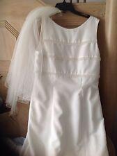 80s Lady Eleanor Retro Pearls Bows White Wedding Dress Bridal Veil Pearls Sz 14