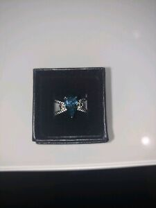 2.3 ct VVS1 BLUE Tear Drop REAL MOISSANITE 925 SILVER RING SZ 6 (US SELLER)