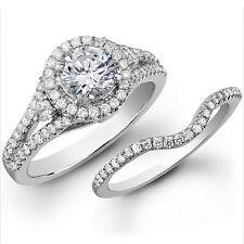 1.45 Ct Diamond Engagement Rings 14K White Gold Wedding Ring Set Round Set 75413