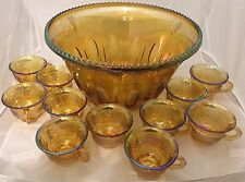 "Carnival Glass 12"" Punch Bowl w/11 Cups Marigold Irridescent Grapevine Imperial?"