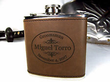 Personalized Engraved Brown Leather Flask Custom Groomsman Groomsmen Gifts OVAL