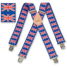 """Brimarc Mens Braces Heavy Duty Suspenders 2"""" 50mm Wide Union Jack Braces"""