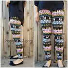 Aztec Tribal Chevron Print High Waist Soft Knitted Leggings Pants E272