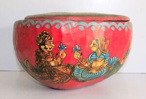 Vintage Wooden Made Indian King Queen Figure Painting Tribal Folk Art Bowl Pot