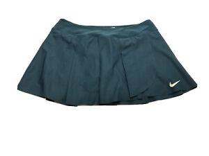 Nike Dri-Fit Tennis Skirt skort size L Deep Green Teal Pleated Golf Run Fitness