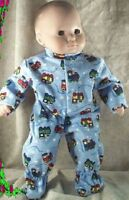 "Doll Clothes Baby Made 2 Fit American Girl Boy 15"" inch Bitty Pajamas Train Blue"