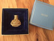 Vintage Avon Flower Basket Solid Perfume Compact Pin Brooch With Original Box