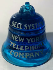 Rare Vintage 1940's Bell System New York Telephone Blue Glass Bell Paperweight