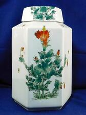 Vintage Chinese Hexagon Tall Ginger Jar Hand Painted Nora Foster Designer