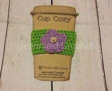 Handmade Crochet Coffee Cup Cozy/Sleeve/Holder Mason Jar Holder - Flower