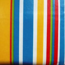 52x70 Oblong VINYL TABLECLOTH~Flannel Back~Summer Stripes/Blue/Yellow/Green~NEW