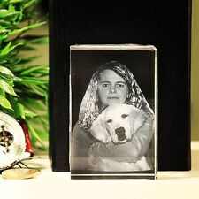 R80 3D Glas Foto Würfel Laser Geschenkidee Hund Katze Tier Gravur Muttertag