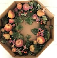 """Fall Holiday Sugared Fruit Wreath Wall Door 18"""" Pears Pomegranates Apples Berrie"""