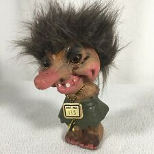 """Vintage Troll Doll Composite Material 6"""" Tall Nyform Made In Norway Green Skirt"""