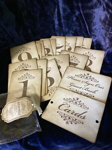 Rustic Table Numbers for Weddings/Parties - Set Of 18 + Card & Guest Book