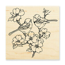 STAMPENDOUS RUBBER STAMPS DOGWOOD BIRDS NEW WOOD STAMP
