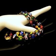 Vintage Venetian Millefiori Necklace Black Multi Art Glass Cane Beads Knotted