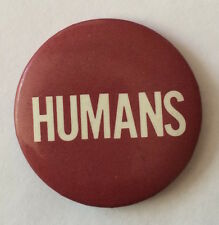 Vintage 80s HUMANS band IRS Records promo button pin badge New Wave RARE red wht