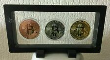 3x BTC coins Gold, Silver & Rose Gold Plated Bit coin in 3D Floating Frame