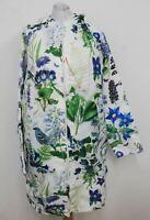 ROSEHIP Ladies White Blue Green Hooded Floral Print Long Sleeve Raincoat M