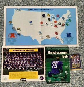 Minnesota Vikings Bundle - 2 8x10 1987 Team Photos-Bench Warmer Bob Book+ Poster