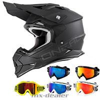 O'Neal 2series RL flat matt schwarz Helm Crosshelm Motocross HP7 Cross Brille