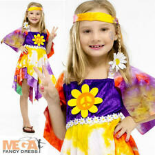 1960s Daisy Hippie Girls Fancy Dress 60s 70s Groovy Tie Dye Hippy Kids Costume