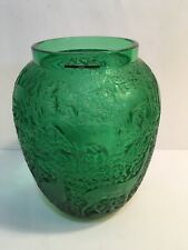 """RARE Lalique Crystal Emerald Green """"Biches"""" Deer Vase MINT w/Labels and Box"""