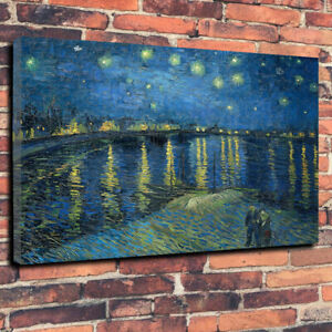 Van Gogh Starry Night Over the Rhone Printed Canvas Picture Multiple Sizes New
