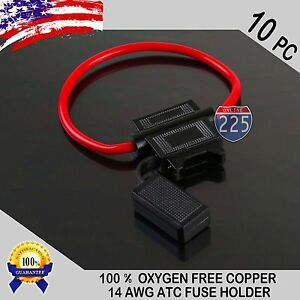 10 Pack 14 Gauge ATC In-Line Blade Fuse Holder 100% OFC Copper Wire Protection