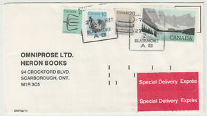 Blairmore, Alberta 1987 POCON cancelled $2.32 special delivery rate cover