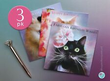 3 PACK of Cat Birthday Cards for Men and Women by Juniperlove Greetings UK