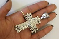 14k white gold 2.80ct SI2I diamond cross charm pendant 34.1g estate vintage mens