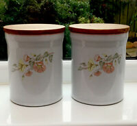 Vintage Denby Melody Tea/Coffee Storage Jars.Pair Floral 16.5x13.5 Cm. Kitchen.