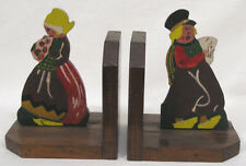 Vtg Wood Folk Art Dutch Boy Girl Hand Painted Bookends 1940s