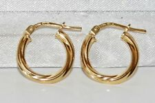 9CT YELLOW GOLD ON SILVER LADIES TWISTED CREOLE HOOP EARRINGS -