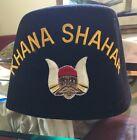 Shriners Black Gretto Fez With Red Tassel Mens KHANA SHAHAR  Masonic Hat