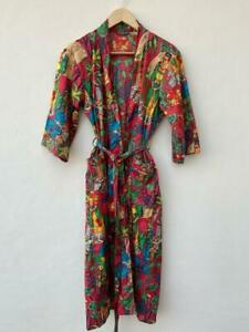 Indian Cotton Red Frida Kahlo Print Long Kimono Nightwear Bath Robe Gown Dress