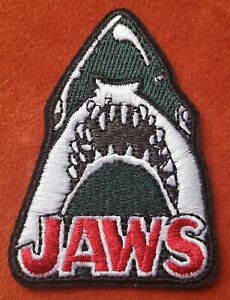 Jaws Horror Embroidered Patch Iron On Shark Sea Film Amity Island Teeth Jaws