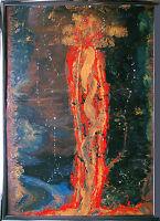 Jozsef Toth *1944: Sonnenfackel Astronomie Öl-Lack 83 x 114 cm Ausstellungsbild