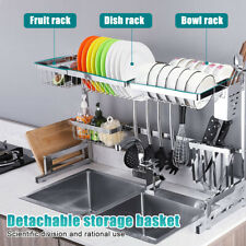 US Over The Sink Dish Drying Rack Shelf Kitchen Storage Cooking Holder Stainless