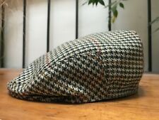 Tweed Flat Cap by Lawrence and Foster, 100% Wool, Houndstooth, Made in England